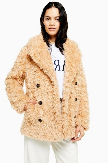 TOPSHOP Camel Textured Borg Coat / shaggy coats - flipped