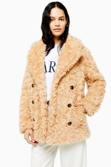 TOPSHOP Camel Textured Borg Coat / shaggy coats