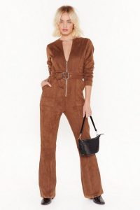 NASTY GAL Can I Faux Suede You to Stay Belted Jumpsuit in Tan