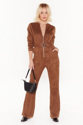 NASTY GAL Can I Faux Suede You to Stay Belted Jumpsuit in Tan - flipped