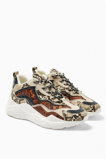 TOPSHOP CANCUN Chunky Trainers / snake print sneakers - flipped