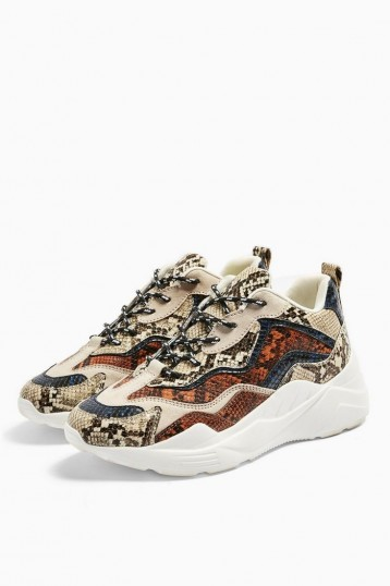 TOPSHOP CANCUN Chunky Trainers / snake print sneakers