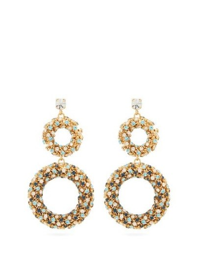 ROSANTICA BY MICHELA PANERO Caos crystal-embellished drop earrings / sparkling double hoop drops - flipped