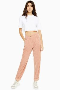 TOPSHOP Casual Corduroy Trousers in Blush