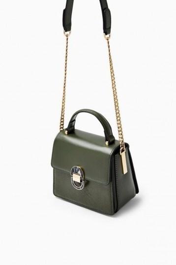 TOPSHOP CELIA Olive Cross Body Bag   green top handle bags - flipped