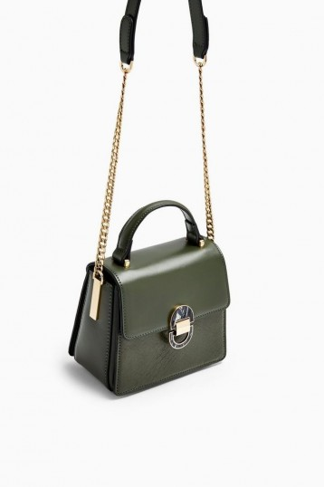 TOPSHOP CELIA Olive Cross Body Bag | green top handle bags