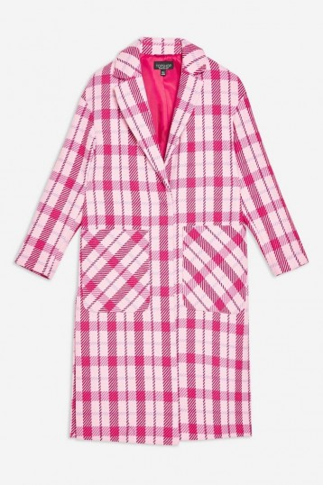 TOPSHOP Check Side Split Coat in Pink / bright checked coats