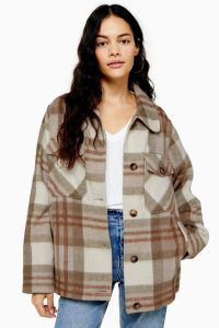 TOPSHOP Check Wool Jacket in Cream