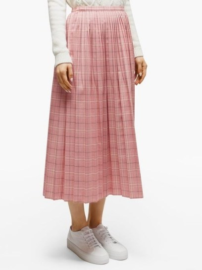 MARNI Checked pleated wool skirt in pink - flipped