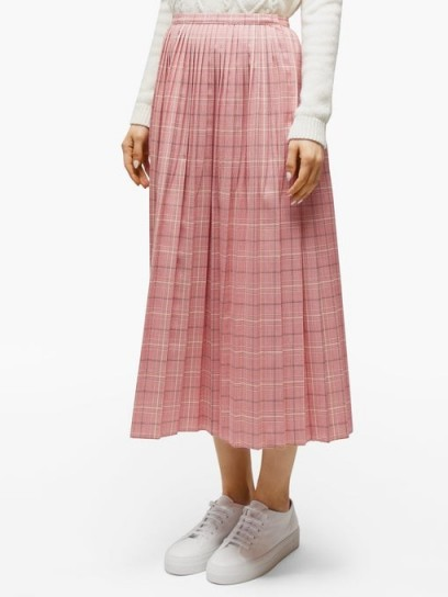 MARNI Checked pleated wool skirt in pink