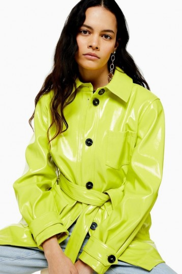 TOPSHOP CHICAGO Neon Lime Belted Vinyl Coat / high-shine coats