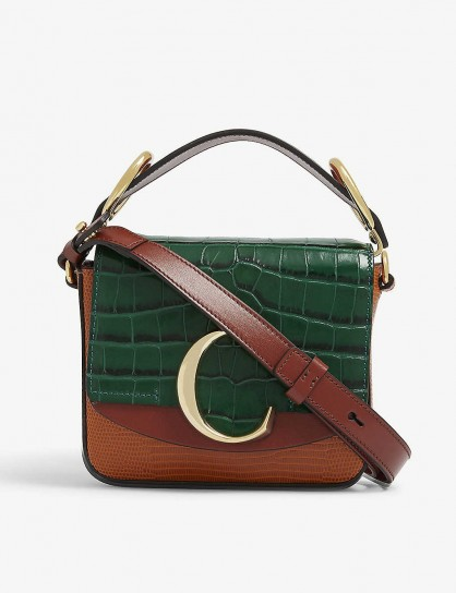 CHLOE Toaster mini leather cross-body bag in brown / green