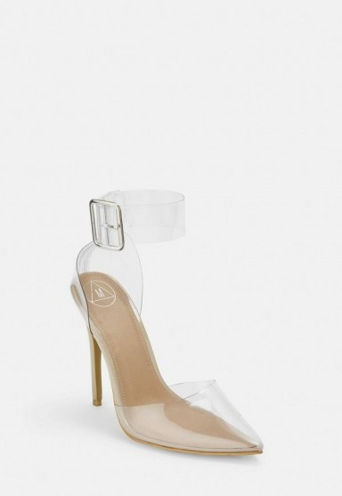 MISSGUIDED clear ankle buckle court heels ~ going out courts