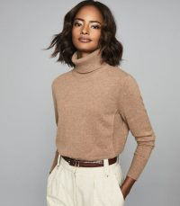 REISS CLIO CASHMERE ROLLNECK JUMPER CAMEL ~ luxury roll neck jumpers