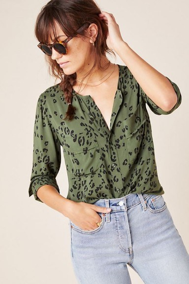 Cloth & Stone Blakely Buttondown in Green Motif / casual collarless shirt - flipped