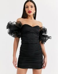 Club L London Tall extreme ruffle sleeve ruched mini bardot dress in black ~ statement lbd