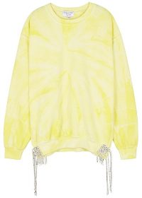 COLLINA STRADA Yellow tie-dye embellished sweatshirt / tasseled sweat top