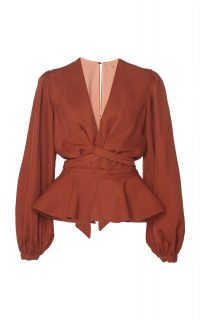 Johanna Ortiz Coral De Nuqui Cotton-Blend Puff Sleeve Peplum Top ~ rust-red plunging blouse