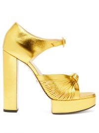GUCCI Crawford knotted metallic gold-leather platform sandals / luxe platforms