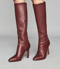 REISS CRESIDA LEATHER KNEE HIGH BOOTS CLARET ~ colours for autumn