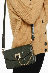 Topshop CRISSY Green Chain Cross Body Bag