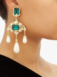 DOLCE & GABBANA Green crystal and faux-pearl drop earrings ~ beautiful Italian costume jewellery