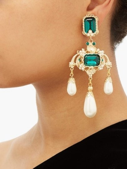 DOLCE & GABBANA Green crystal and faux-pearl drop earrings ~ beautiful Italian costume jewellery - flipped