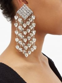 ALESSANDRA RICH Crystal-embellished heart-drop clip earrings ~ statement crystals