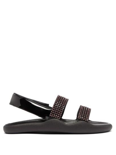 CHRISTOPHER KANE Crystal-embellished black-leather slingback sandals | sparkling flat slingbacks