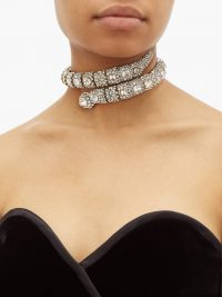 GUCCI Crystal-embellished snake choker / sparkling chokers