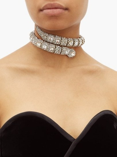 GUCCI Crystal-embellished snake choker / sparkling chokers - flipped