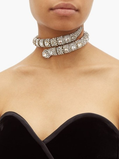 GUCCI Crystal-embellished snake choker / sparkling chokers