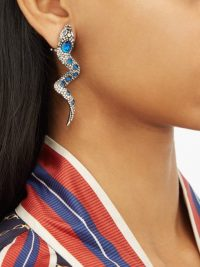 GUCCI Crystal-embellished snake clip earrings – clear and blue crystals