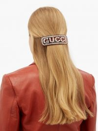 GUCCI Crystal-logo brown resin hair slide | designer accessories