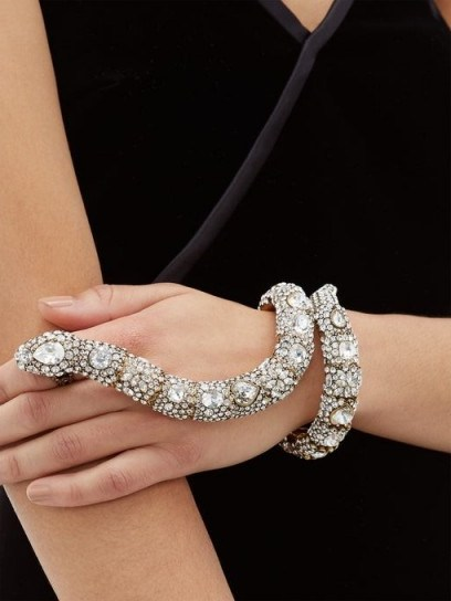 GUCCI Crystal-snake bracelet and ring cuff ~ eye-catching jewellery - flipped