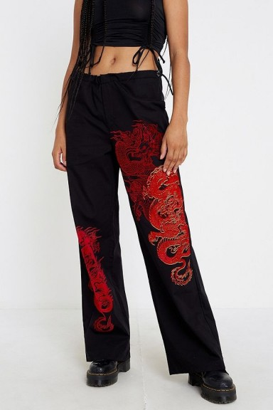 Jaded London Dragon Print Cargo Trousers in Black