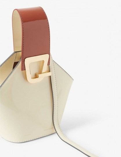 DANSE LENTE Johnny mini leather bucket bag in Dove – Rosewood / small luxe handbag - flipped