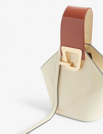 DANSE LENTE Johnny mini leather bucket bag in Dove – Rosewood / small luxe handbag