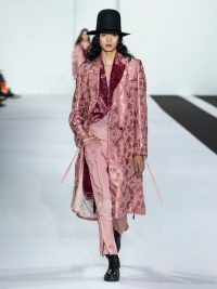 ANN DEMEULEMEESTER Daphne rose-jacquard longline coat in pink / luxe coats