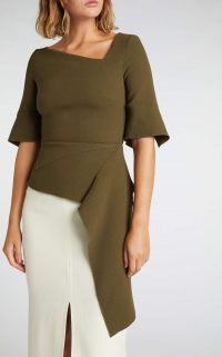 ROLAND MOURET DARWIN TOP in Dark Khaki ~ draped tops