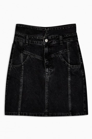 Topshop Denim Notch Waist Skirt in Washed Black