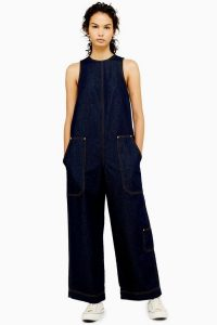Topshop Boutique Denim Utility Jumpsuit Indigo | sleeveless all-in-one