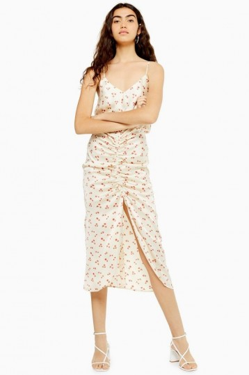 TOPSHOP Ditsy Ruched Midi Dress in Ivory