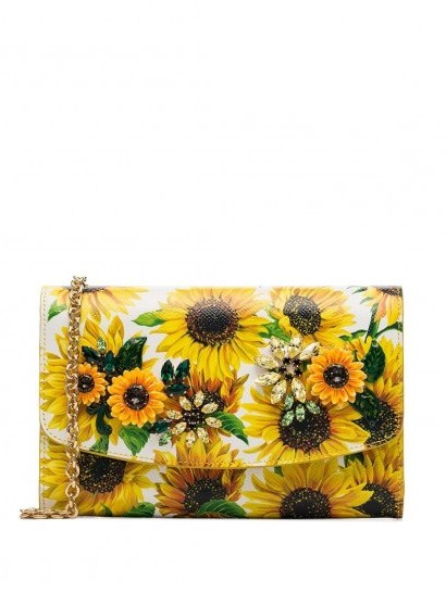 DOLCE & GABBANA sunflower print shoulder bag / crystal crossbody - flipped
