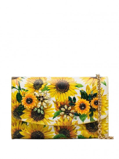 DOLCE & GABBANA sunflower print shoulder bag / crystal crossbody