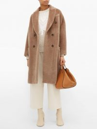 BRUNELLO CUCINELLI Double-breasted light-brown wool-blend coat | luxe outerwear