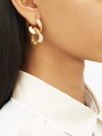BOTTEGA VENETA Double-link jasper and gold-plated silver earrings