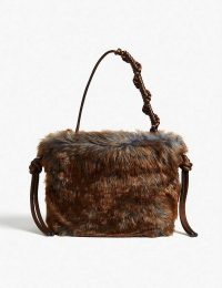 DRIES VAN NOTEN Faux fur tote in brown / fluffy handbag