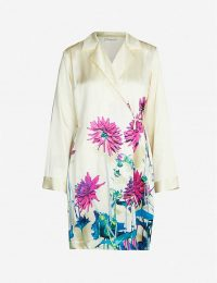 DRIES VAN NOTEN Floral-print silk-satin kimono / luxe tunic top