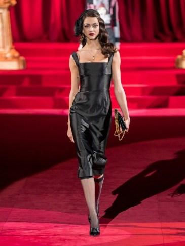 DOLCE & GABBANA Duchesse square-neck silk-satin midi dress in black ~ Italian vintage style glamour - flipped